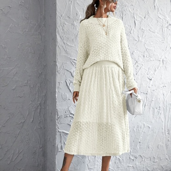 Sweater & Skirt Coord Set White Shein One Size